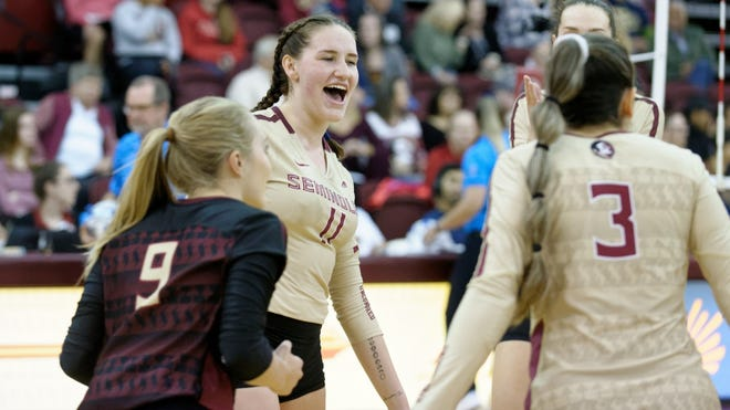 On Friday, the Florida State Seminoles (9-3, 2-1) indoor volleyball team beat the NC State Wolfpack (7-7, 1-2) in the Garnet and Gold's first-ever Mental Health Awareness Match.