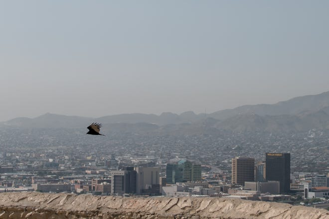 A smoky haze hovers over El Paso,TX and Juarez on Monday, Sept. 13, 2021, on Scenic Drive.