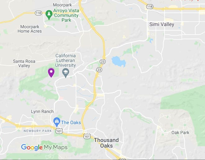 Purple pin marks the epicenter of a magnitude 3.6 earthquake recorded at 7:59 a.m. Monday near Wildwood Avenue in the Thousand Oaks area.