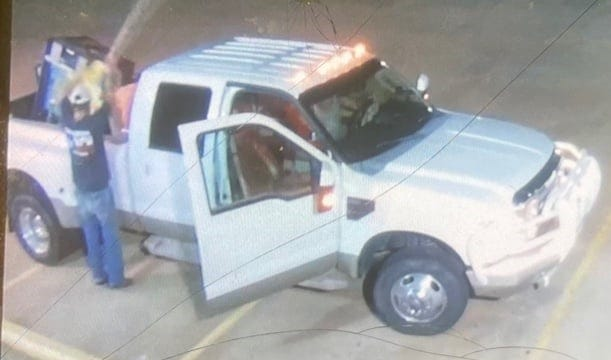 Crime Stoppers of Wichita Falls is looking for information about a pool equipment theft involving this white pickup.