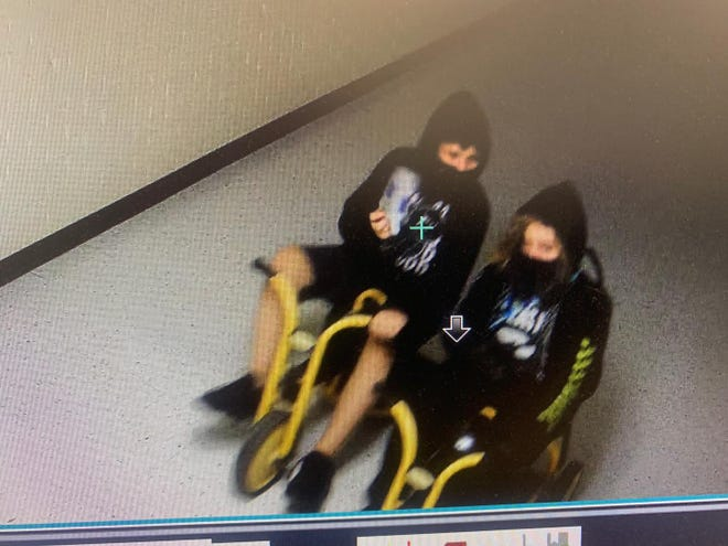 Surveillance video captured this image two vandals suspected of causing heavy damage to John Tower Elementary School in Burkburnett ISD recently.