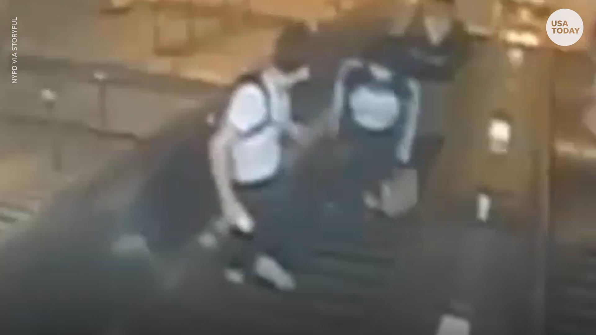 Surveillance video shows man kicking woman on escalator in NYC subway attack