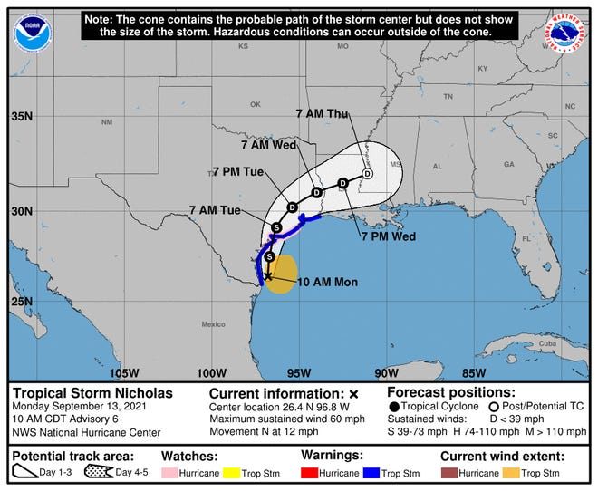 The projected path of Tropical Storm Nicholas, as of 11 a.m. ET, Monday Sept. 13, 2021.