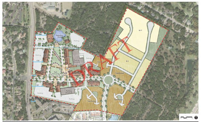 The Square at Lohmans, which is being proposed by the developer Legend Communities Inc., includes commercial, mixed-use and single-family residential, all focused around a town square and main street area.