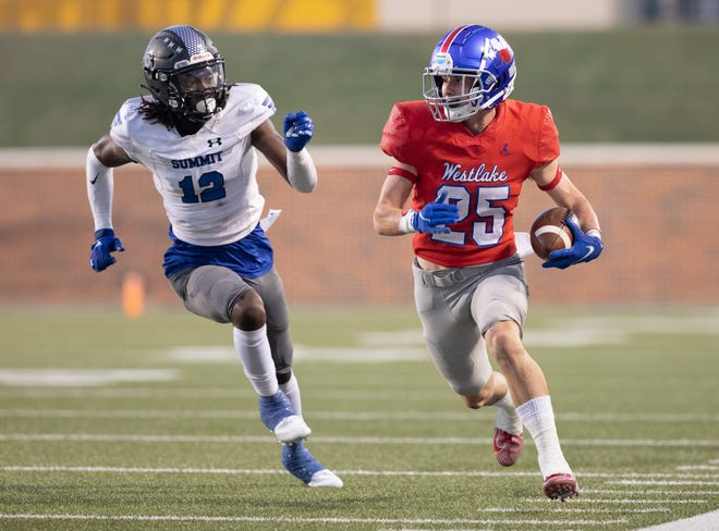 Westlake running back Hunter Henault gets loose during the Chaps' 59-21 win in a nondistict game Sept. 10 at the University of Mary Hardin-Baylor in Belton. Henault rushed 19 times for 146 yards in the game and has topped 100 yards in each game this season.