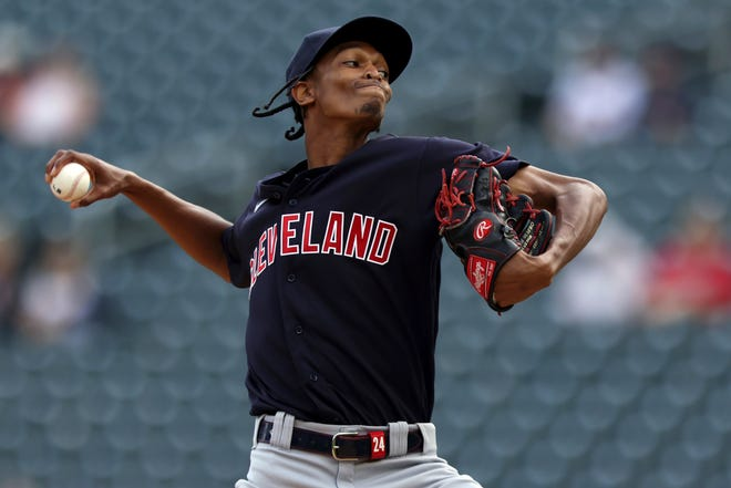 Cleveland starter Triston McKenzie (24) gave up one run on three hits and struck out seven in six innings of a 3-1 win over the Minnesota Twins in the first game of a doubleheader Tuesday. [Stacy Bengs/Associated Press]