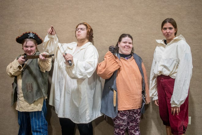 """Maggie Witte, Jareth Cross, Haley Masker and Allie Hunter are part of the """"Treasure Island"""" cast."""