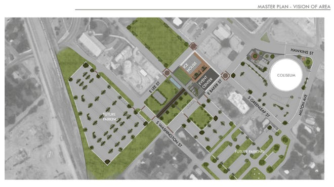 A depiction shows the layout of the Event Center that is planned in Brownwood.