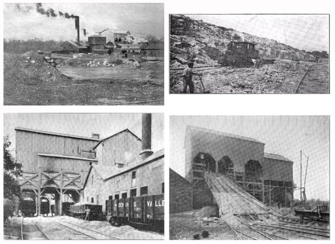Photos from a 1906 report by the state geologist from Ohio shows activity at the Casparis Quarry west of Marble Cliff. Clockwise from the top left is the crushing plant at the quarry, a locomotive moving stone to the crusher, the input rails where the coarse stone is moved into the crusher and cars from the Hocking Valley Railroad being loaded with pulverized stone.