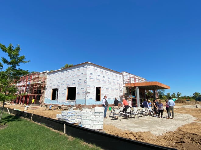 A brick-laying ceremony was Sept. 9 for Walnut Creek Surgical Suites, a private surgical center, which is being constructed just north of Tech Center Drive on Buckles Court North.