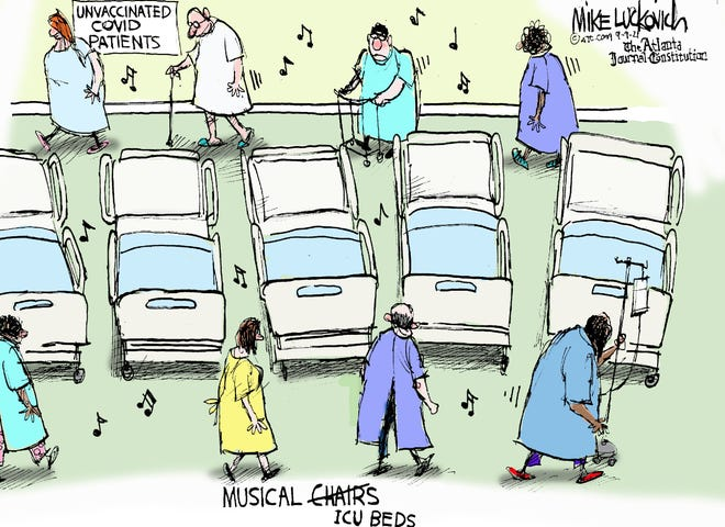 Mike Luckovich  Covid patients cartoon.