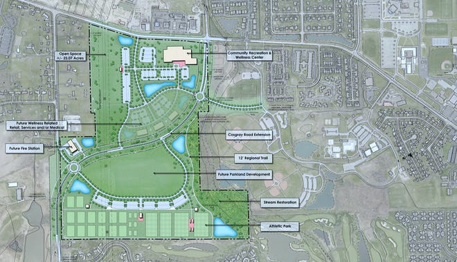 This map shows the proposed site of the Hilliard Recreation and Wellness Campus, as well as the extension of Cosgray Road to connect with Alton Darby Creek Road.