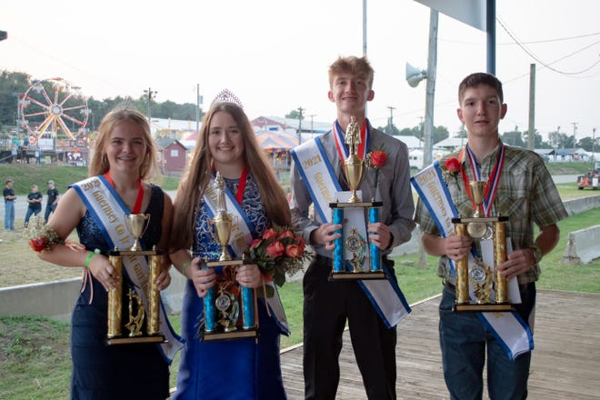 Guernsey County Fair 2021 Royalty Court includes Avery Vasko, Izabella Gray, Carson Clouse, and Kohlton Channell