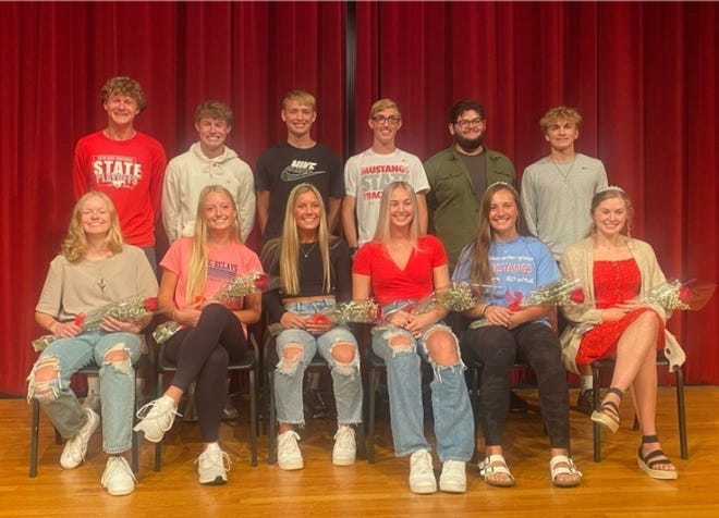 The Dallas Center-Grimes Homecoming Court includes front row, from left, Kaylin Petrak, Hannah Little, Audrey Anderson, Katie Christensen, Elle Nelsen and Ella Lampe. Back row, Alex Abens, Nate Waknitz, Cole Glasgow, Aidan Ramsey, Anthony Munoz and Bo Huston.