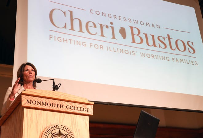 U.S. Rep. Cheri Bustos delivers the fifth-annual Monmouth College Wiswell-Robeson Lecture on Tuesday night in the College's Dahl Chapel and Auditorium
