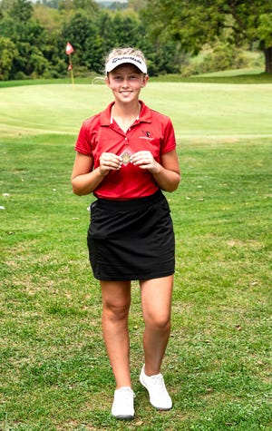 Coldwater's Taylor Musselman won Medalist honors at Onsted Monday after defeating her opponent in a 4-hole playoff.