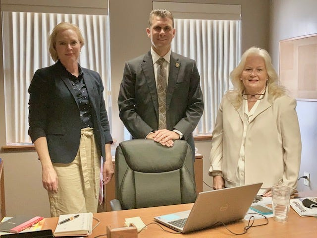 Dixie Zeitlow, Office manager Springfield office, Sen. Win Stoller, Geneseo office manager, Dawn Tubbs get ready to welcome residents to the constituant services offices in the Geneseo City Hall building.