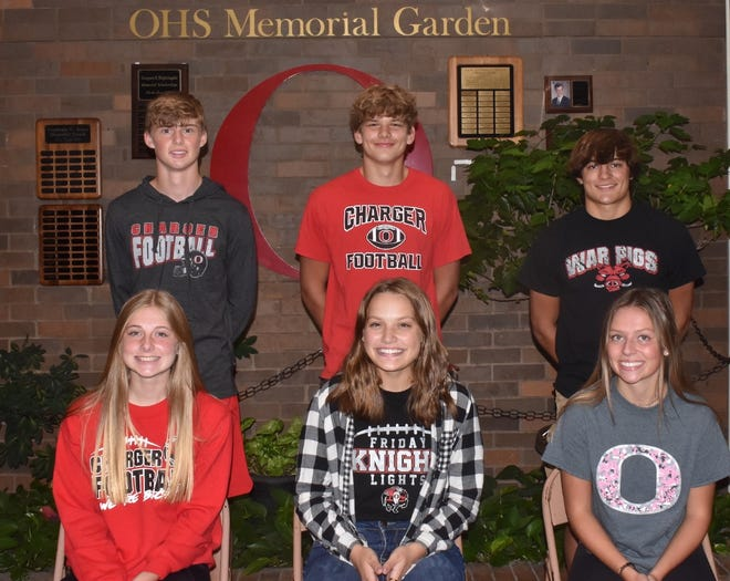 Orion High School's Homecoming court includes six underclassmen. The pair on left, front and back, includes freshmen Jocelyn Marner and Anthony Clark; in middle, Grace Passno and Lucas Dunlap, and on right, Ariel Nelson and Cole Kratzberg.