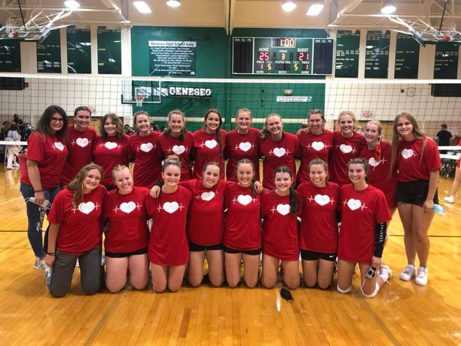 The Geneseo Volleyball Team dressed the part for their recent fundraiser for the American Heart Association. The team sponsored the event in place of their usual annual Breast Cancer Awareness night because of their connection to the program. It was reported that after senior Taylor Reuter was involved in an accident, doctors found she had a hole in her heart. She is not playing this season, but does serve as team manager when possible. Dressed in their special T-shirts are, in front from left, Cameron Moe, Chloe Reed, Triston Highton, Addison Smith, Madi Scott, Delainey VanRycke, Bailey Huizenga and Kylie DeJohn; in back, Lena Litherland, Hannah Copeland, Taylor Reuter, Alysia Perez, Alex Jones, Elysia Woulf, Maya Bieneman, Kammie Ludwig, Emma Frank, Aubrey VanKerrebroeck, Lauren Johnsen and Taylor Zvonik.