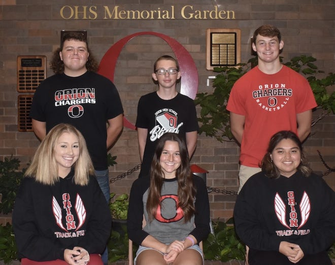 """Orion High School will hold its """"Hollywood Homecoming"""" celebration next week. Senior candidates for queen and king are, in front from left, Gracie McHenry, Chloe Rittenhouse and Britani Trujillo-Macias, and in back, Seth Gardner, Tim Nissen and Chance Stropes. On Thursday, Sept. 23, events include the parade at 5 p.m., the dinner at 5:30 p.m. at Charger Field, and the coronation and pep assembly at 6:30 p.m., also at Charger Field."""