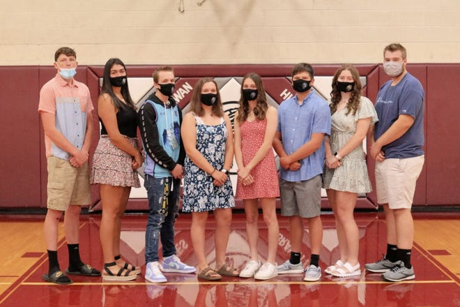 Annawan will celebrate their Homecoming the week of September 20. The week will culminate in the Annawan Wethersfield Titans playing the Abingdon-Avon Tornadoes on Friday, September 24 @7:00PM.  L to R: Mason Matney, Sophia Roldan, JD Carpenter, Leah Park, Ally Celus, Jayse Heitzler, Caitlyn Baele, Xander Bremer