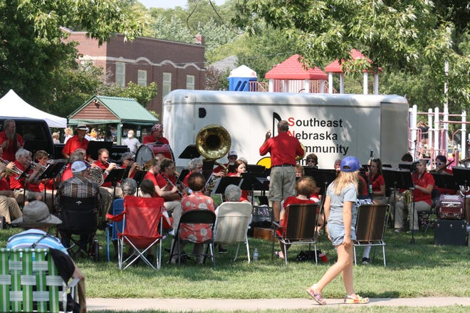The Southeast Nebraska Community Band provided musical entertainment on Saturday afternoon at the Hamburg City Park.
