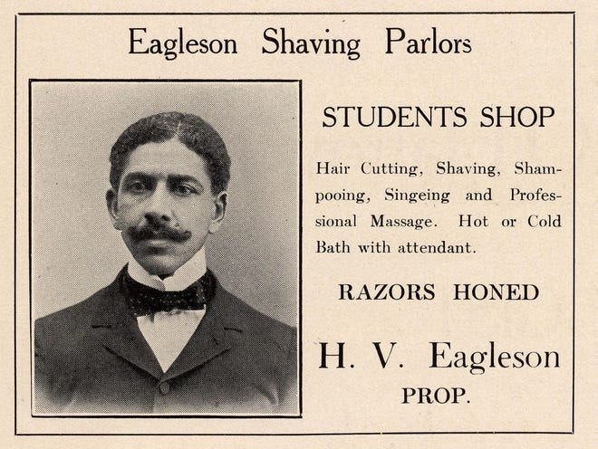 This image scanned from the 1907 Arbutus yearbook for Indiana University, Page 282, is of Halson V. Eagleson Sr., who was the father of six children. Preston Emmanuel was his first-born, to his first wife. Halson V. Jr. (fifth child) and Oran Wendle (sixth child) were born to his second wife. The three children mentioned here all received IU degrees, including Preston becoming the first Black man to receive a master's degree from IU. (Oran and Halson also received honorary degrees in 1985). Halson Sr. was also the grandfather of Elizabeth Bridgwaters, a Bloomington civic leader, and Wilson Vashon Eagleson. Wilson married Frances Marshall (the first African American woman to graduate from IU).