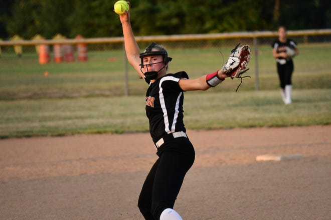 Macon pitcher Brooke Weimer delivers in the first inning of Monday's meeting with Kirksville.