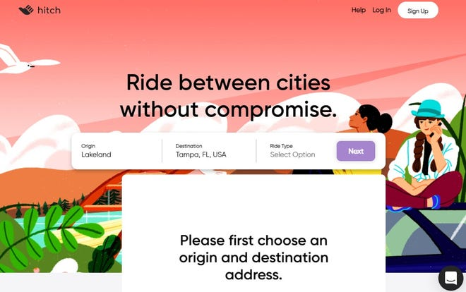 Hitch, a ride-sharing app that started in Texas in 2018, hopes to cover50-to350-mile trips with more flexibility than buses and trains and less expensively than ride sharing apps such as Uber or Lyft.