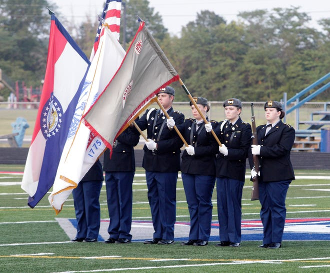 Cadets of Moberly High School's JROTC program present the colors during the playing of the national anthem prior to the start of the Spartans home football game Friday, Sept. 10 against Excelsior Springs.