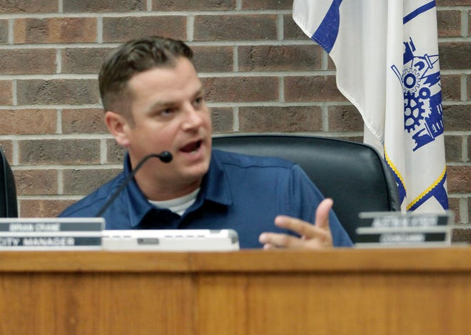 Moberly City Manager Brian Crane gives details concerning a report shared with the council during a public work session held Sept. 7 at City Hall
