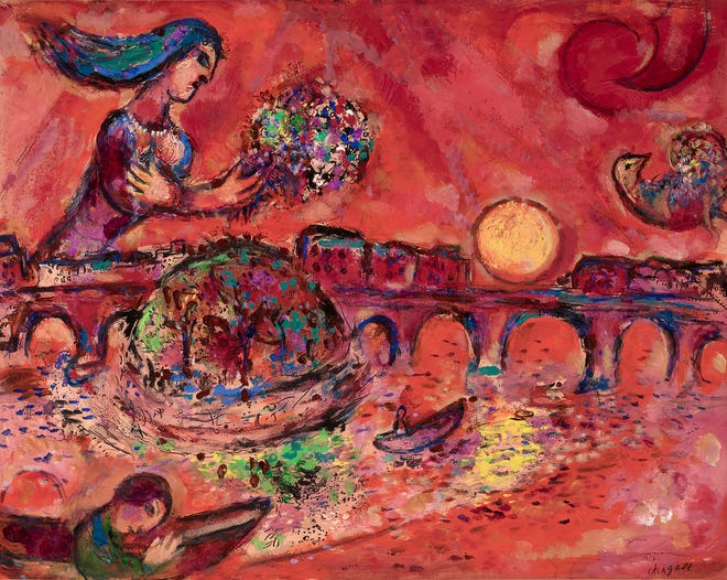 This painting, L'ilede Saint-Louis, by Marc Chagall is said to have been his love letter to Paris.