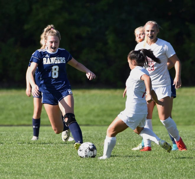 Traip's Brinly Seward (8) tries to maneuver around a Wells defender in Monday's girls soccer match in Kittery, Maine. The Class C Rangers improved to 4-0 on the season with the win over Class B Wells.