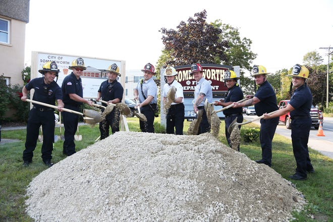 Somersworth firefighters break ground on the city's new fire station Tuesday, Sept. 14, 2021.