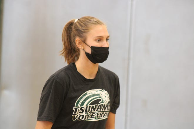Dover High School's Tory Vitko, sophomore setter, during Monday's practice after recording 43 assists in Thursday's 3-2 match win over Londonderry.