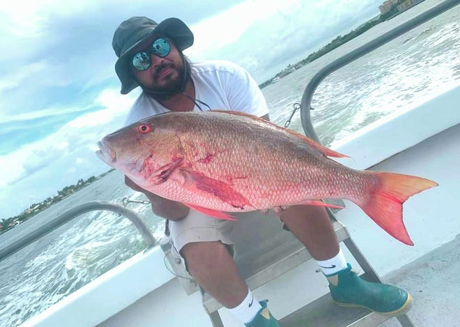 Fishing aboard the Lady K drift boat, Tony Martinez of Boynton Beach caught this beautiful 15-pound mutton snapper while drifting a sardine in 100 feet of water Sunday afternoon.
