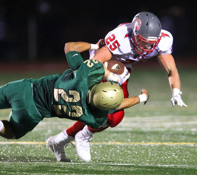 Brown running back Will Such, top, is eager for contact, something he got used to when he played for Cranston East in games against Hendricken in 2017.