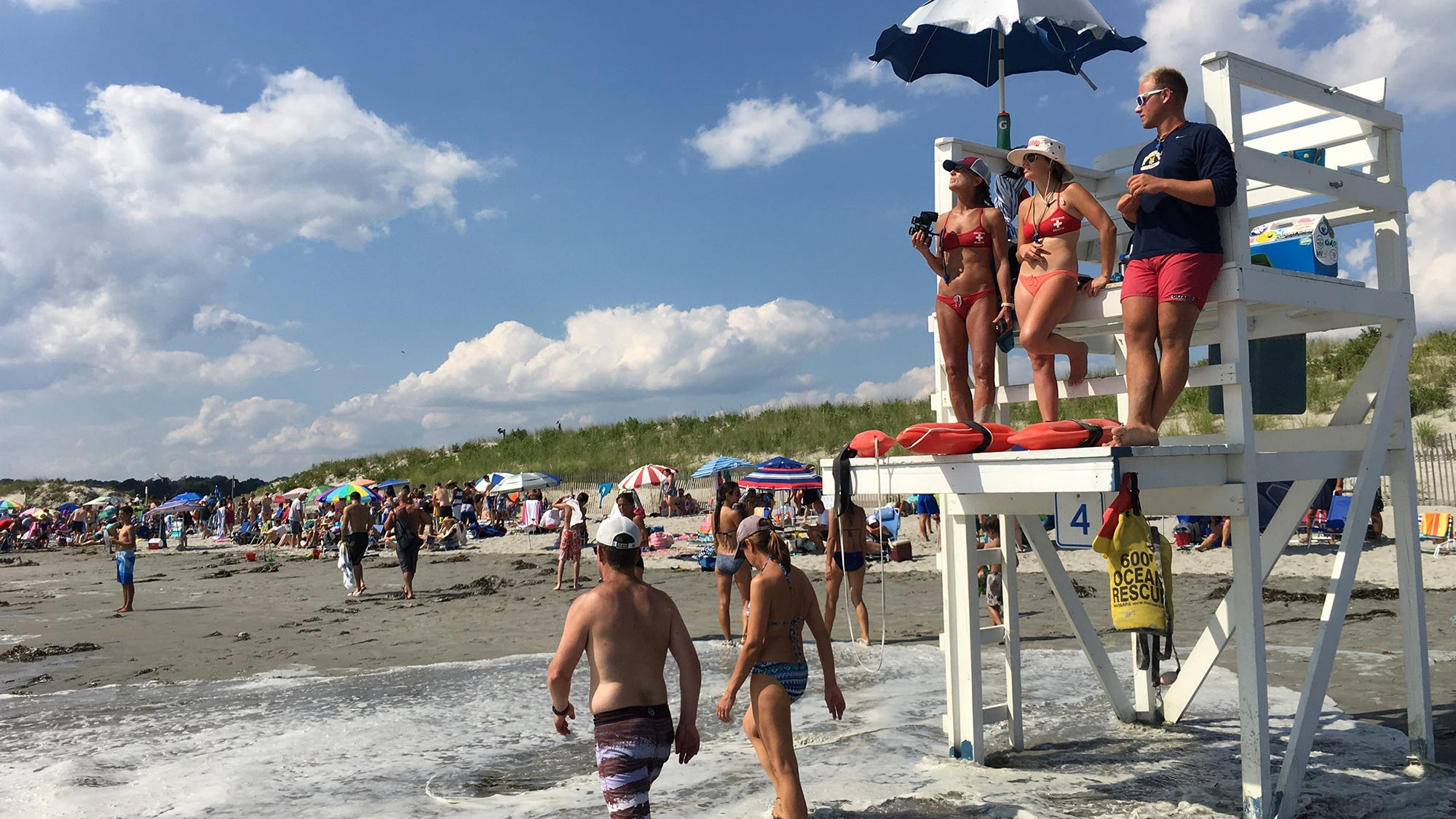 Lifeguards keep watch at Second Beach in Middletown on Wednesday afternoon.