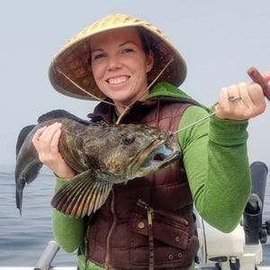 Michelle Bauer successfully battled this lingcod while fishing off the Sonoma County Coast with Captain Merlin Kolb on Sept. 11, 2021.