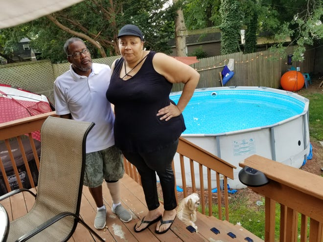 Stacy Steadman and her brother-in-law Bryant Pearson were sleeping when the intruder broke into their Canton home, swam in the family pool and helped himself to leftover chicken. Lori Steineck / The Canton Repository