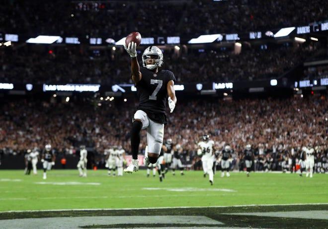 Sep 13, 2021; Paradise, Nevada, USA; Las Vegas Raiders wide receiver Zay Jones (7) celebrates scoring the game winning touchdown against the Baltimore Ravens during overtime at Allegiant Stadium. Mandatory Credit: Mark J. Rebilas-USA TODAY Sports
