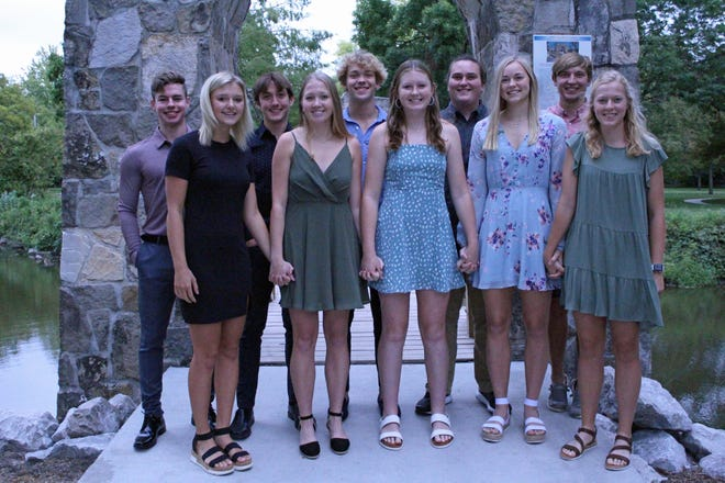 The Roland-Story Homecoming Court members are, front row left to right, Reece Johnson, Jana Isebrands, Madison Geise, Reagan Barkema, Ellie Erickson, back row, Cade Murphy, Cade Diehl, Will Bunn, Jacob Hennager and Matthew Phelan.