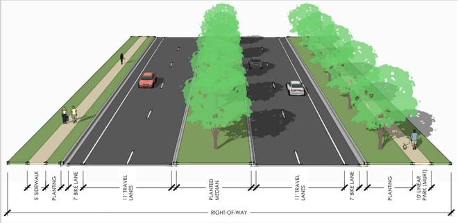 This rendering shows a typical four-lane section of the widened Laurel Road in northeast Venice.