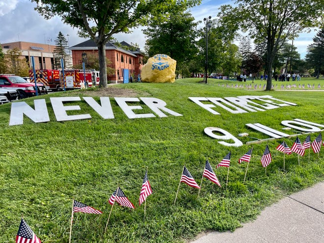 On Friday, Laker faculty, staff and students joined with members of state and local government, police departments, the Sault Ste. Marie Fire Department and paramedics and the Coast Guard to observe the 20th anniversary of 9/11 on Lake Superior State University's campus.