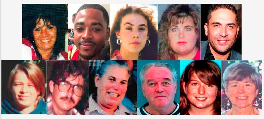 Unsolved disappearances from Siskiyou County, past and present. Clockwise from top left: Angie Fullmer, Davohnte Morgan, Hannah Zaccaglini, Karin Mero, Rocky Ramirez, Rosemary Kunst, Grace Elan Sabots, Ray Ranaldo Martin, Betty Jane Lobush, Phillip Deshayes and Marie Louise Andrus.