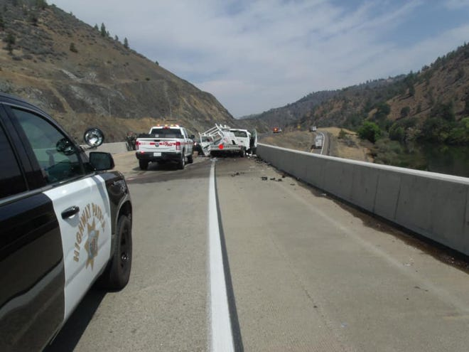 The scene of a fatal crash on Interstate 5 in the Hornbrook area on Monday afternoon, Sept. 13, 2021.