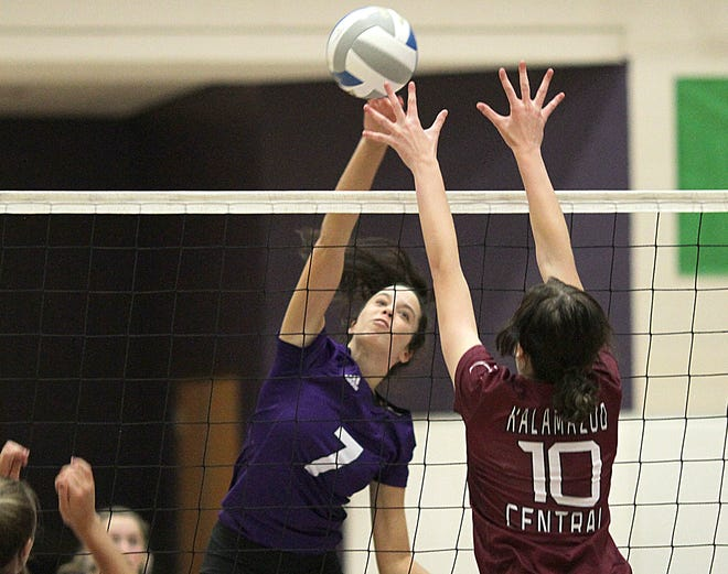 Abbie Thompson of Three Rivers registers a kill against Kalamazoo Central on Monday.