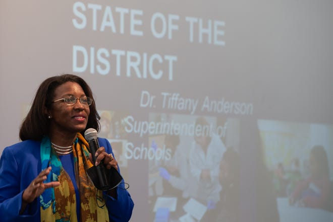 Tiffany Anderson, superintendent for Topeka Public Schools, discusses the state of the district during Tuesday's TPS Foundation breakfast.