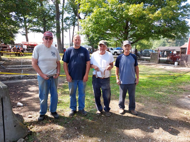 Horseshoe pitch winners at New Centerville Farmers and Threshermens Jubilee are, from left: Carl Yoder, first place; Clyde Werner, second place; Jim Romesberg, third place; and Raymond Rugg, fourth place.