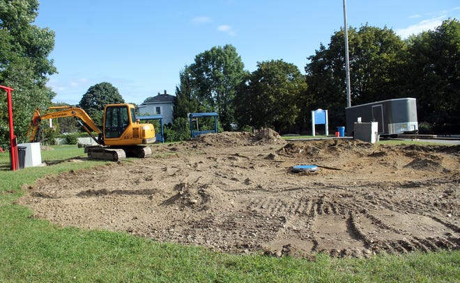 Work is underway to replace the splash pad at Philbin Park (on the Acre) in Clinton. The work was delayed when parts were scarce during the pandemic.